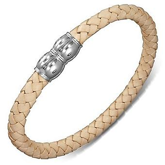 Urban Male Plaited Beige Leather Bracelet with Magnetic Clasp