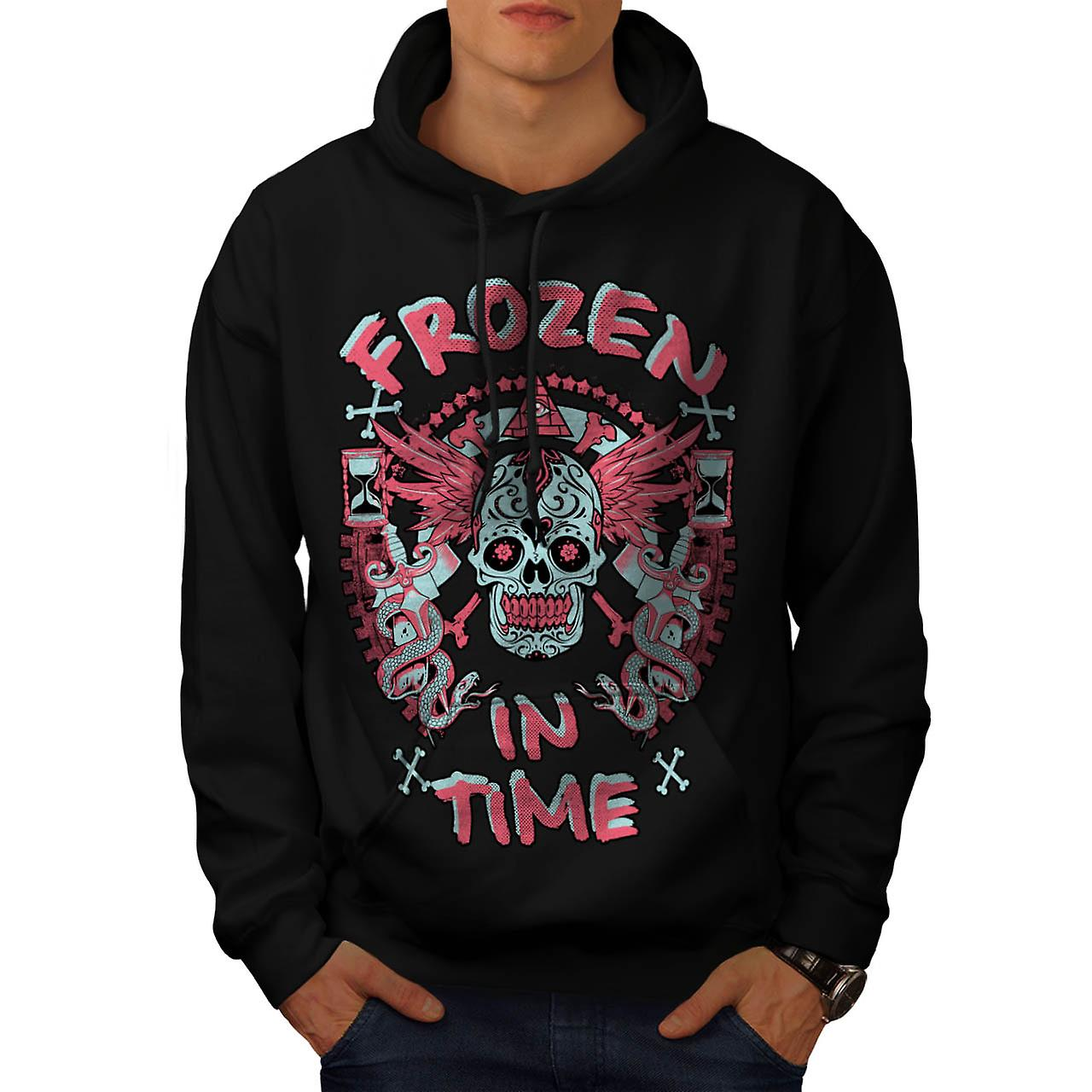 Frozen In Time Skull Secret Gang Men Black Hoodie | Wellcoda