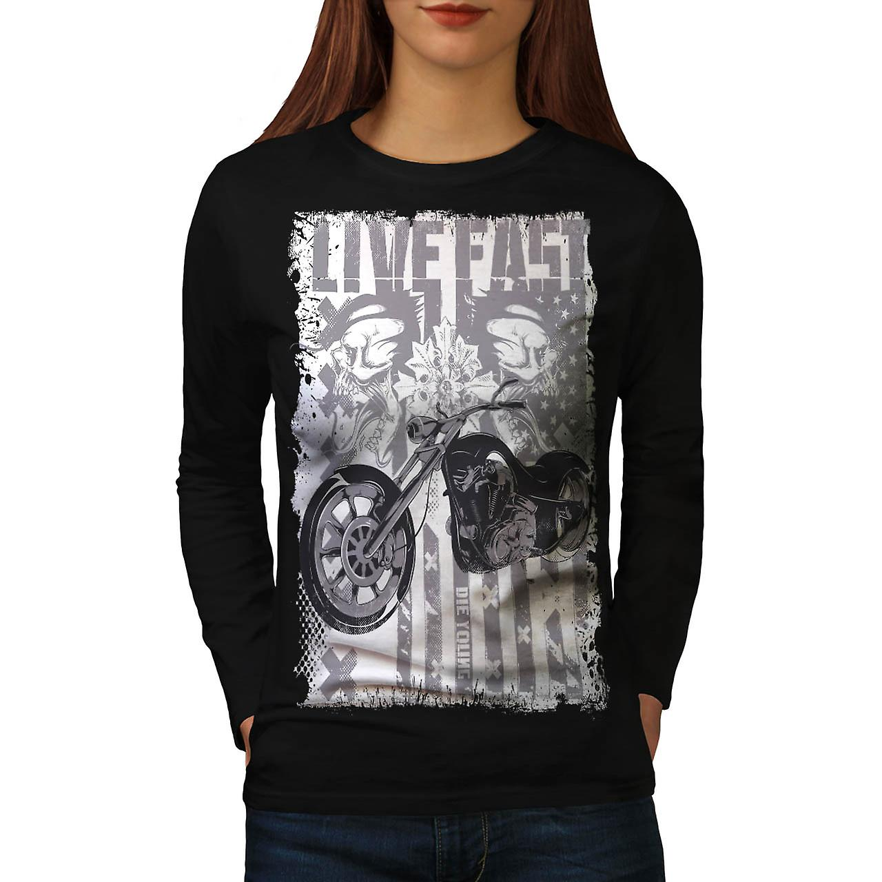 Live Fast USA Flag Biker Women Black Long Sleeve T-shirt | Wellcoda