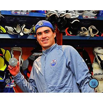 Nail Yakupov with the puck from his first NHL Goal 2012-13 Photo Print