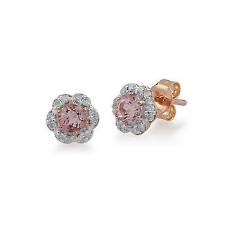 Gemondo 9ct Rose Gold 0.31ct Morganite & Diamond Floral Stud Earrings Stud Earrings