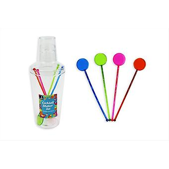 Cocktail Shaker Set with 4 Stirrers Mix Drinks Party Home Martini Barware 600ml