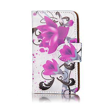Design-Buch-PU-Leder-Etui für LG G Flex 2 - Purple Rose