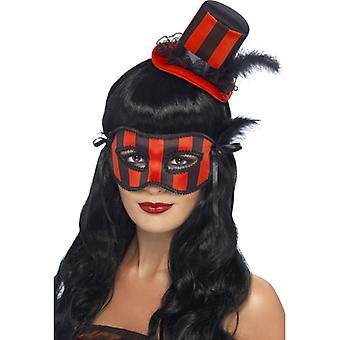 Halloween set eye mask Hat burlesque Black 2-piece Red