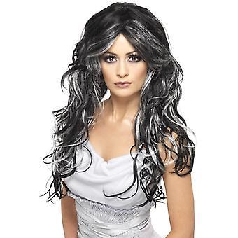 Gothic bride wig, black, grey