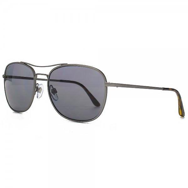 Giorgio Armani Frames Of Life Aviator Sunglasses In Matte Gunmetal Polarised