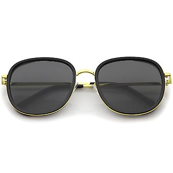 Modern Metal Temple Trim Flat Lens Square Sunglasses 55mm