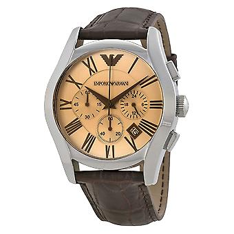 Emporio Armani AR1634 Brown Leather Strap Champagne Dial Roman Numerals Dial Watch