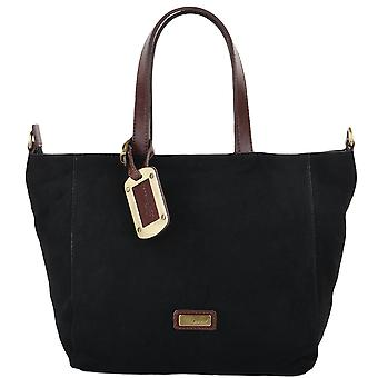 Ashwood Small Suede Tote Handbag  Blk/tan : 3162c