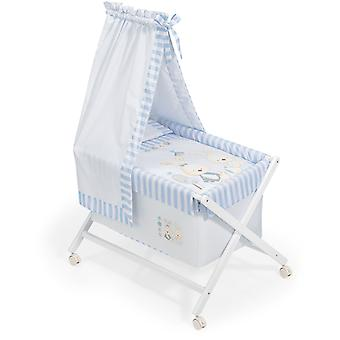 Interbaby Natural Crib canopied Baby Blue Rabbit Model