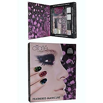 Ciate Feathered Manicure All A Flutter Gift Set 5ml Ivory Queen Nail Polish + 13ml Speed Coat Pro + Scissors + Nail File Block + Genuine Feathers