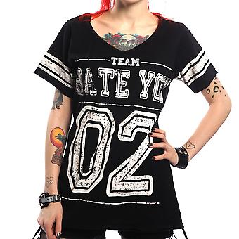 HATE VARSITY V-Neck Tee Uni-Sex / Alternative, Goth, Rock, Punk,