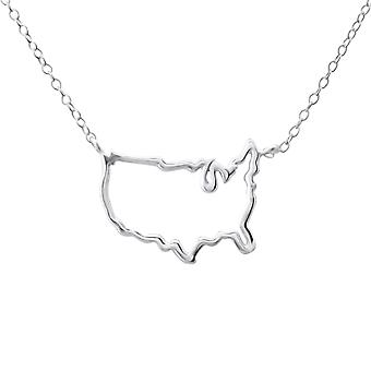 USA Map - 925 Sterling Silver Plain Necklaces