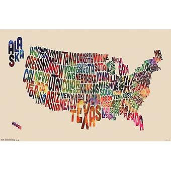 United States Map - Text Poster Poster Print