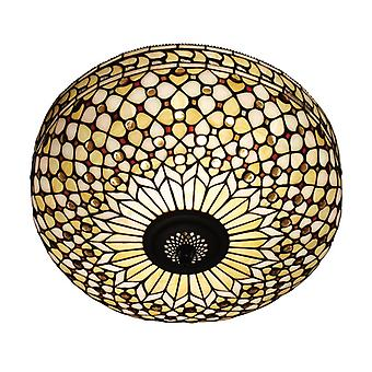 Mille Feux Large Tiffany Style Two Light Flush Ceiling Fixture - Interiors 1900 64276