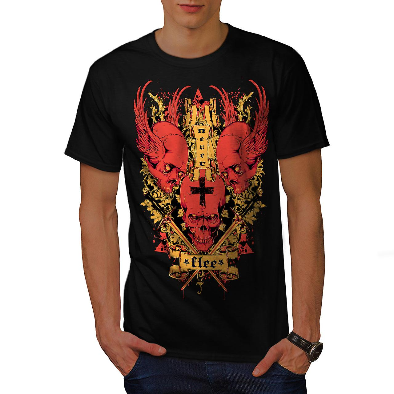 Never Flee Satan Skull Men Black T-shirt | Wellcoda