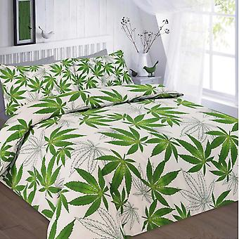 Cannabis Weed leaf Duvet Quilt Cover Polycotton Printed Bedding Set All Sizes