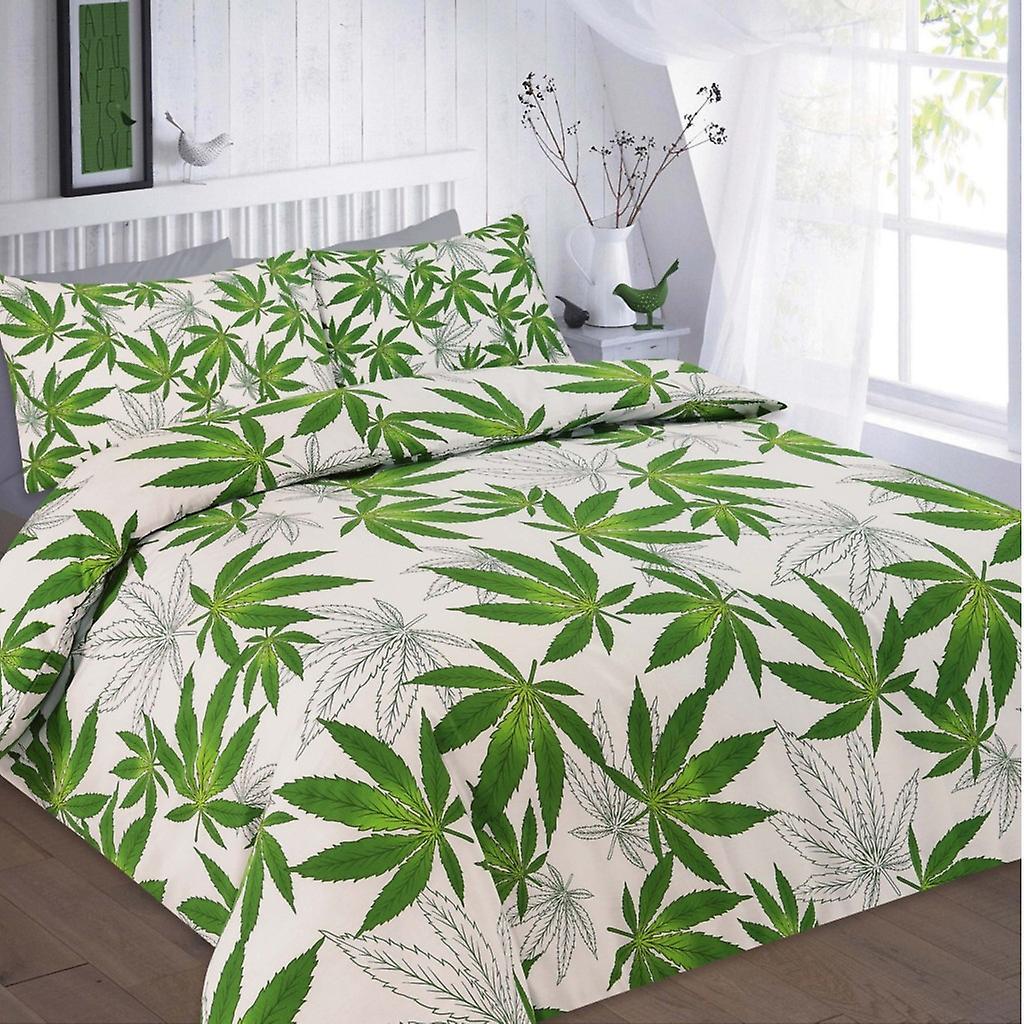 Couette Couverture Polyester Weed De Cannabis Toutes Feuille Set coton Imprimé Literie Tailles UVqSzMp