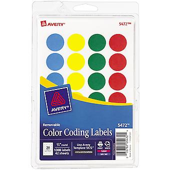 Avery Print/Write Self-Adhesive Removable Labels 1008/Pkg-Assorted (Blue, Green, Red, Yellow) AV5472