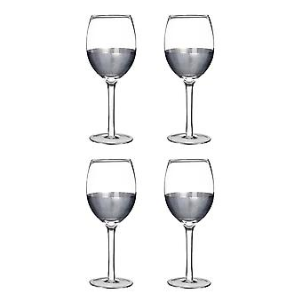 Premier Housewares Apollo Set of 4 Small 300ml Wine Glasses, Silver