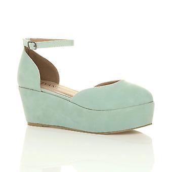 55675359ae9e Ajvani womens mid low wedge flatform platform ankle strap court shoes  sandals