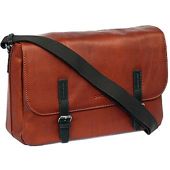 Cortez Genuine Leather Messenger Bag Flapover Shoulder 16.5 Inch Work Satchel