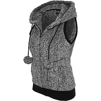 Urban classics ladies - MELANGE TEDDY vest black