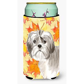 Fall Leaves Shih Tzu Puppy Tall Boy Beverage Insulator Hugger