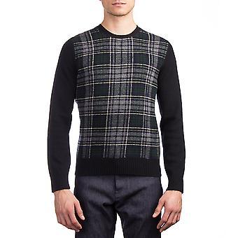 Moncler mænds jomfru uld Herre Plaid Sweater Navy blå