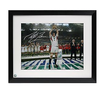 Framed Martin Johnson Signed England Rugby Photo: On The Podium
