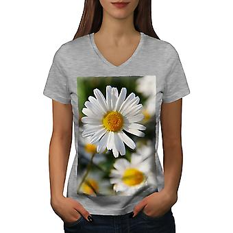 Chamomile Photo Nature Women GreyV-Neck T-shirt | Wellcoda