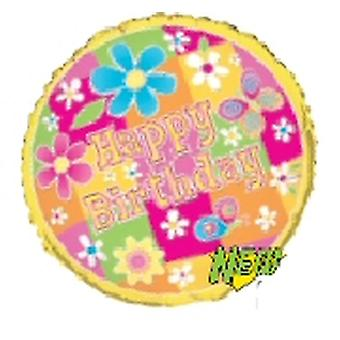 Foil Balloon HAPPY BIRTHDAY Flowers And Butterfly