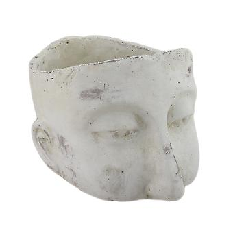 Weathered Finish Sculptural Cement Head Planter