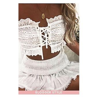 Fashion Bible Lottie White spetsar upp Broderie Anglaise Bandeau topp