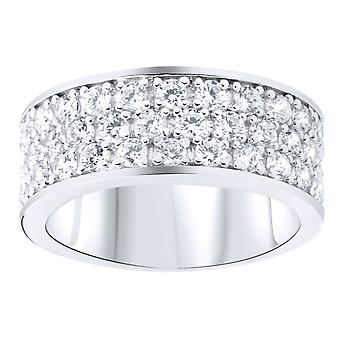 Sterling 925 Silver pave ring - 3 row cubic zirconia