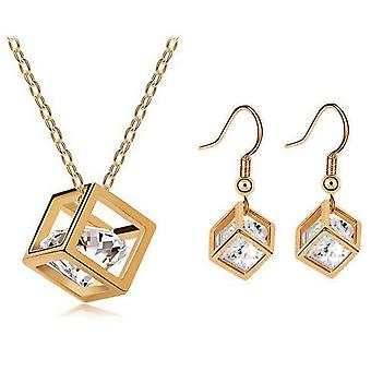Gold Crystals in a Cube Necklace and Earrings Set