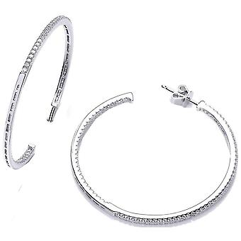 Cavendish French Large Cubic Zirconia Hoop Earrings - Silver