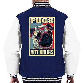 Pugs Not Drugs Men's Varsity Jacket
