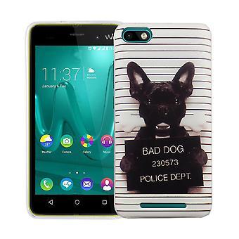 WIKO レニー 3 カバー ケース保護バッグ モチーフ携帯ケース TPU をスリム + 保護ガラス 9 H 悪い犬は白の鎧