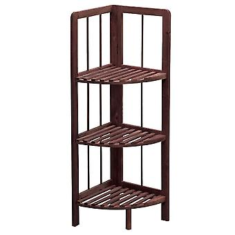 Knight Knox 3 Tier Wooden Corner Shelf Dark Colour Easy to Store Moisture-Resistant
