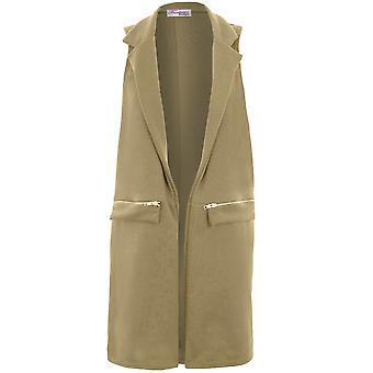 Ladies Sleeveless Casual Zip Detail Tailored Tuxedo Long Waistcoat Duster Jacket