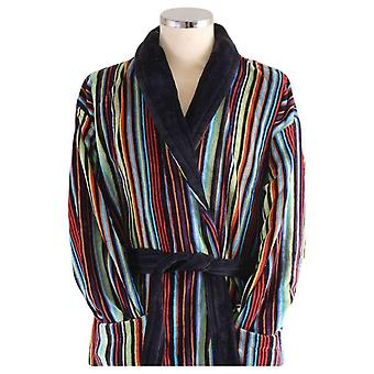Bown of London Dundee Multistripe Dressing Gown - Black/Blue/Rust