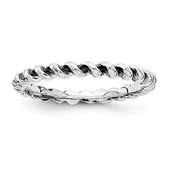 2.5mm Sterling Silver Rhodium-plated Stackable Expressions Antiqued Ring - Ring Size: 5 to 10