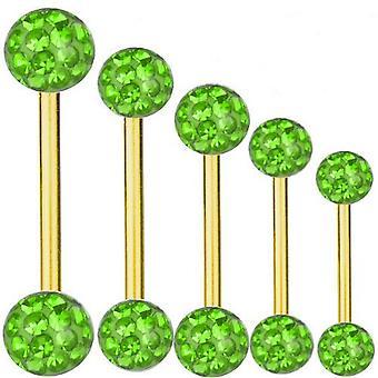 Piercing barra titanio oro plateado 1, 6 mm, múltiples bolas de cristal verde | 6 - 40 mm
