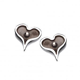 Cavendish francés minúsculo corazón oscuro de plata pendientes