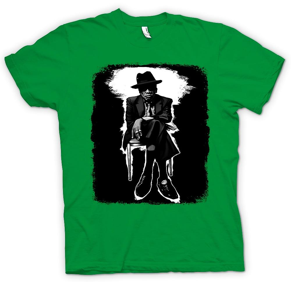 Mens T-shirt - John Lee Hooker Blues - BW - Pop Art