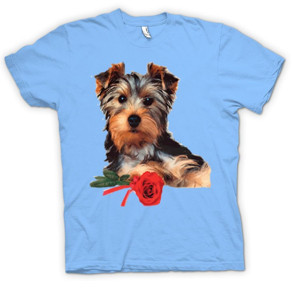 Mens T-shirt-Yorkshire-Terrier Hund mit Rose