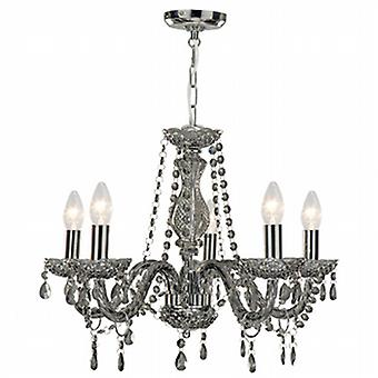 Searchlight 8695-5GY Marie Therese 5 Light Smoked Glass Chandelier