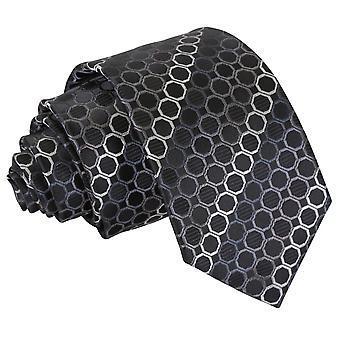 Sort, Platinum & sølv Honeycomb Polka Dot slanke slips