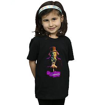 Posa di Willy Wonka e la fabbrica di cioccolato ragazze Dark t-shirt